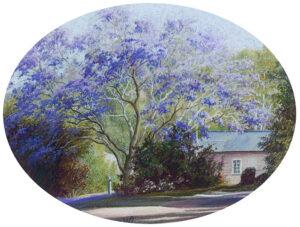 """Jacaranda and Cottage"" original pastel"
